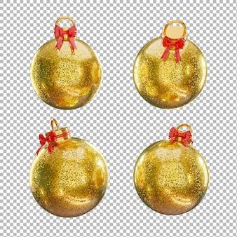 3d визуализация новогоднего шара с рождественской концепцией на прозрачном фоне, обтравочный контур