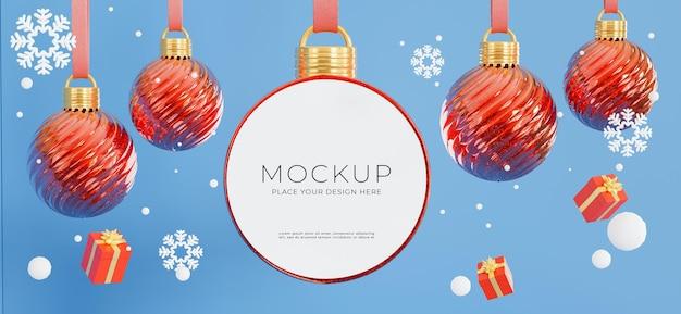 3d визуализация рождественского шара с концепцией счастливого рождества для отображения вашего продукта, синий фон