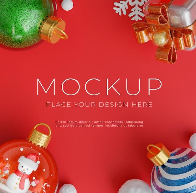 3d визуализация рождественского шара с концепцией счастливого рождества для отображения вашего продукта, красный фон