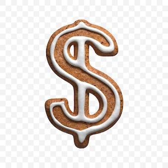 分離されたクリスマスジンジャーブレッドクッキードル通貨記号の3dレンダリング