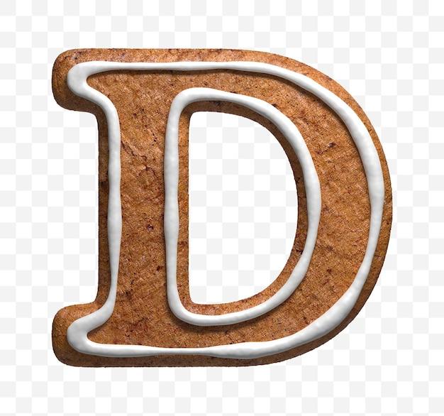 クリスマスジンジャーブレッドクッキー文字dの3dレンダリングが分離されました