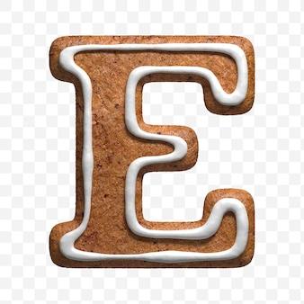 クリスマスのジンジャーブレッドのクッキーの手紙eの3dレンダリングが分離されました