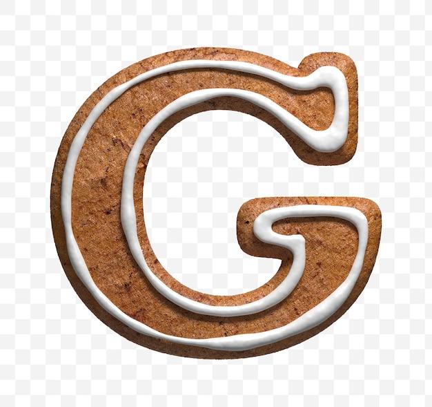 クリスマスジンジャーブレッドクッキー文字gの3dレンダリングが分離されました