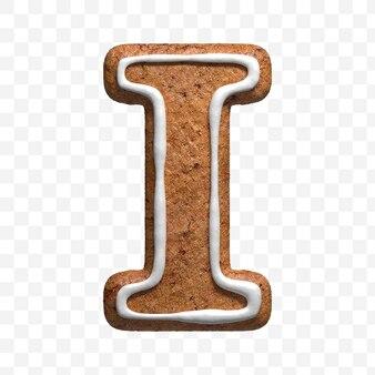 私が分離したクリスマスジンジャーブレッドクッキーの手紙の3dレンダリング