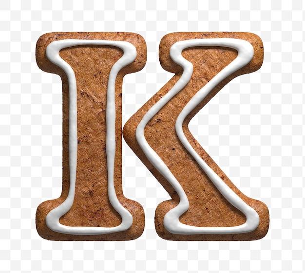 分離されたクリスマスジンジャーブレッドクッキー文字kの3dレンダリング