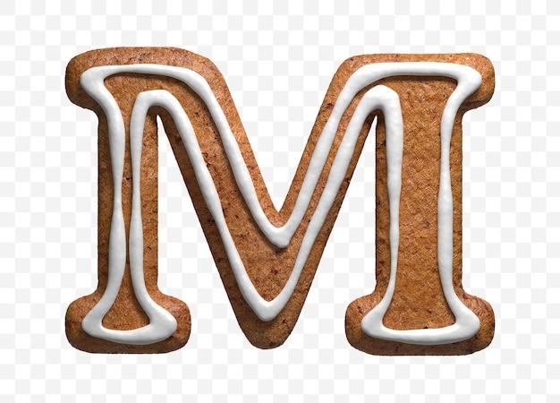 クリスマスジンジャーブレッドクッキー文字mの3dレンダリングが分離されました