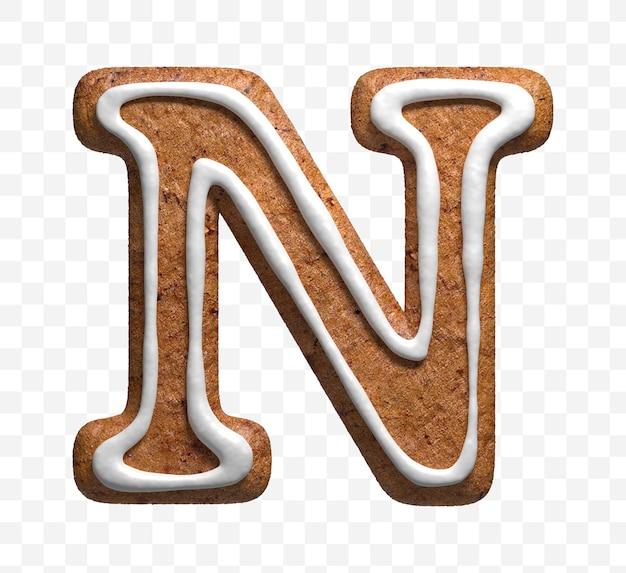 クリスマスジンジャーブレッドクッキー文字nの3dレンダリングが分離されました