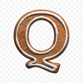 クリスマスジンジャーブレッドクッキー文字qの3dレンダリングが分離されました