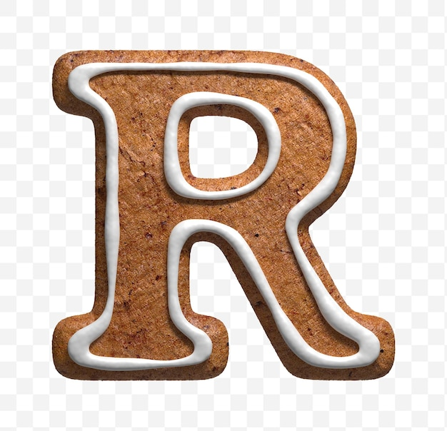 クリスマスのジンジャーブレッドのクッキーの手紙rの3dレンダリングが分離されました
