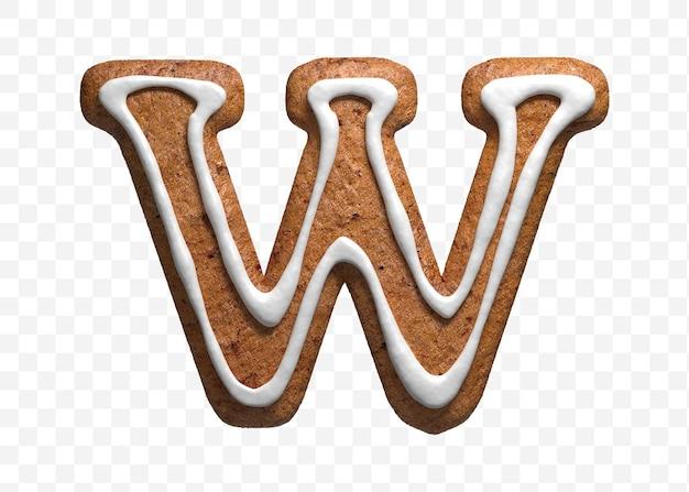 クリスマスのジンジャーブレッドのクッキーの手紙の3dレンダリングw分離
