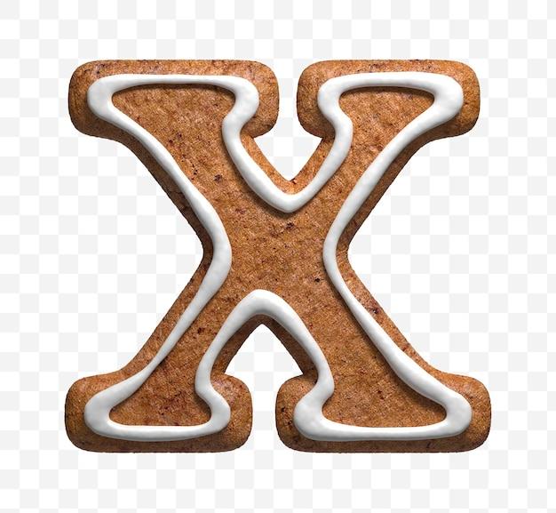 クリスマスジンジャーブレッドクッキー文字x分離の3dレンダリング