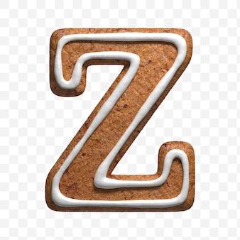 分離されたクリスマスジンジャーブレッドクッキー文字zの3dレンダリング