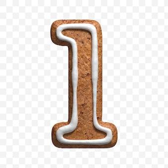 分離されたクリスマスジンジャーブレッドクッキー番号1の3dレンダリング