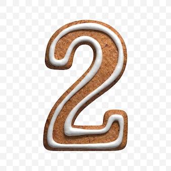 クリスマスジンジャーブレッドクッキー番号2の3dレンダリングが分離されました