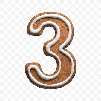 分離されたクリスマスジンジャーブレッドクッキー番号3の3dレンダリング