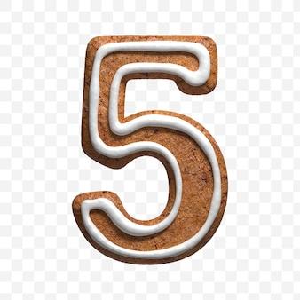 分離されたクリスマスジンジャーブレッドクッキー番号5の3dレンダリング