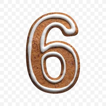 分離されたクリスマスジンジャーブレッドクッキー番号6の3dレンダリング