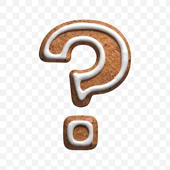分離されたクリスマスジンジャーブレッドクッキーの疑問符の3dレンダリング