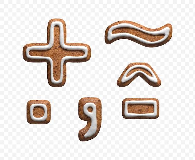 分離されたクリスマスジンジャーブレッドクッキーシンボルの3dレンダリング