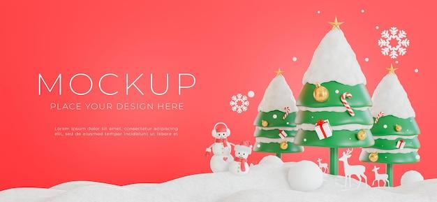3d визуализация украшения рождественской елки с концепцией счастливого рождества для демонстрации вашего продукта