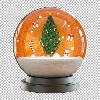 3d визуализация елки в елочном шаре с рождественской концепцией, прозрачный фон, обтравочный контур