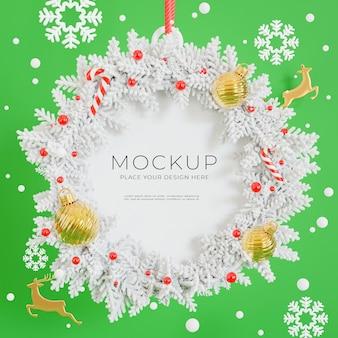 3d визуализация рождественского венка с концепцией счастливого рождества для демонстрации вашего продукта