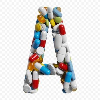 색상 약 및 정제 알파벳 문자 흰색 배경에 고립 된 기호의 3d 렌더링