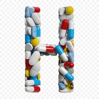흰색 배경에 고립 된 컬러 알 약 및 정제 알파벳 문자 h 기호의 3d 렌더링