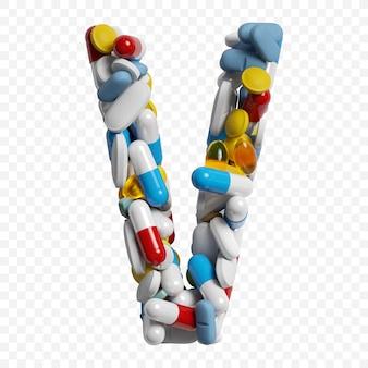 색상 약 및 정제 알파벳 문자 v 기호 절연의 3d 렌더링