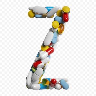색상 약 및 정제 알파벳 문자 z 기호 절연의 3d 렌더링