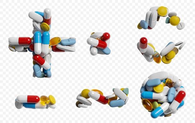 색상 약 및 정제 알파벳 기호 절연의 3d 렌더링