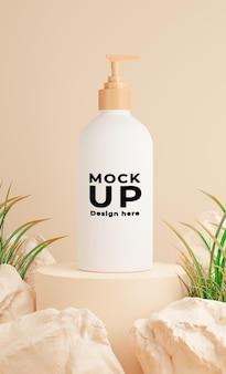 모형 브랜딩을위한 바위와 화장품 병의 3d 렌더링