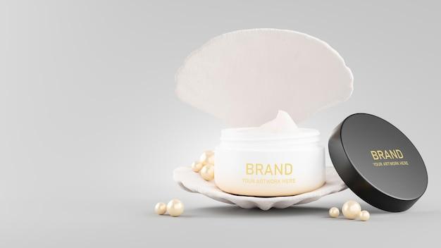 화장품 크림 모형 디자인의 3d 렌더링