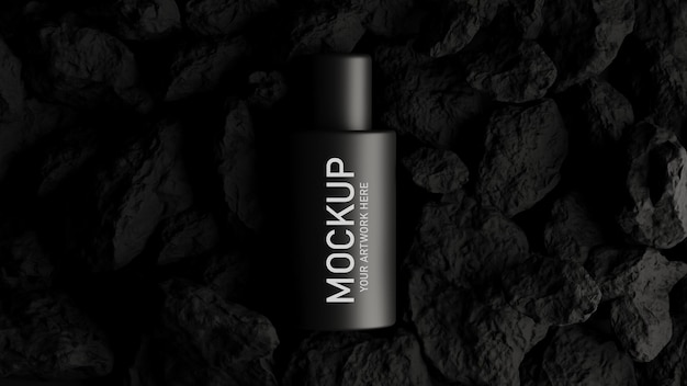 검은 개념으로 모형 브랜딩을위한 화장품의 3d 렌더링