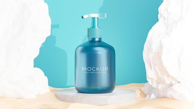 3d визуализация косметической бутылки с бетонным камнем подиума для демонстрации вашего продукта