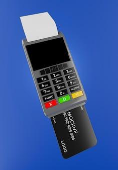 쇼핑 모형으로 결제 프로세스를 운영하는 신용 카드 판독기의 3d 렌더링