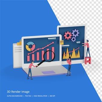 3d визуализация концепции стратегии цифрового маркетинга с характером крошечных людей, таблицей, графическим объектом на экране компьютера. современный онлайн-маркетинг в социальных сетях для целевой страницы и шаблона мобильного сайта