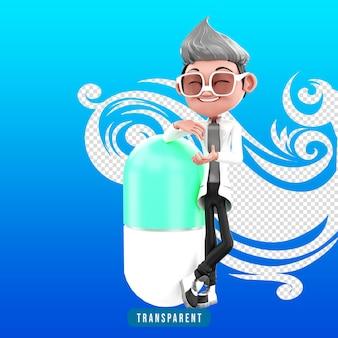 3d визуализация персонажа доктора с капсулой медицины