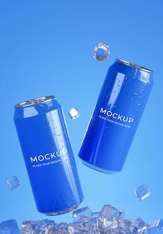 3d визуализация банки для напитков с макетом кубика льда