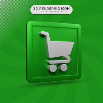 3d визуализация дизайна иконок тележки для электронной коммерции