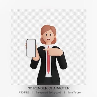 3d визуализация женского персонажа, указывающего вверх смартфон