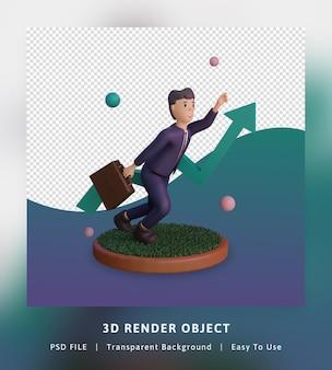 통계 및 문자로 infographics 그림을 성장 금융의 3d 렌더링