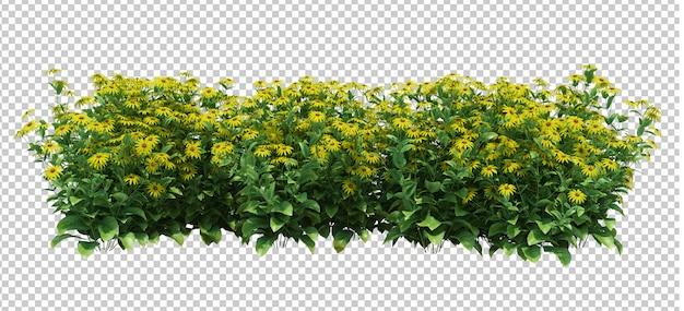 잎과 꽃의 3d 렌더링