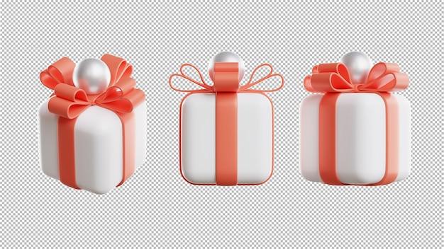 제품 표시를 위한 투명한 배경이 있는 선물 상자의 3d 렌더링