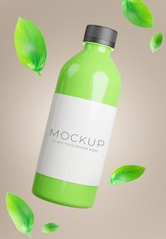 3d визуализация бутылки зеленого чая с листовым зеленым чаем для демонстрации продукта