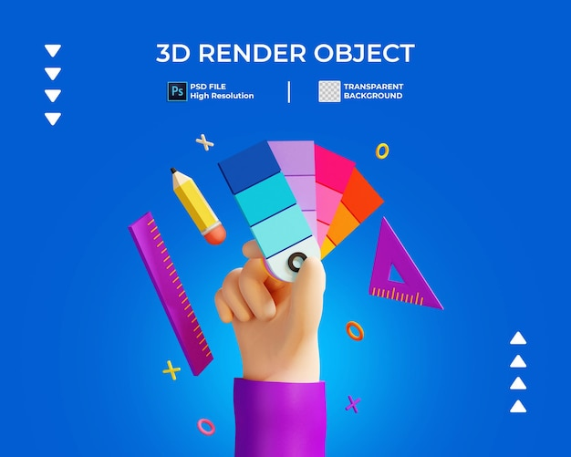 손을 잡고 색상 및 편지지 절연의 3d 렌더링
