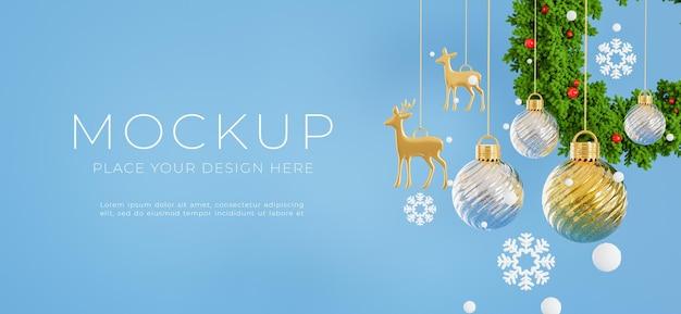 3d визуализация подвесного новогоднего шара с концепцией счастливого рождества для демонстрации вашего продукта