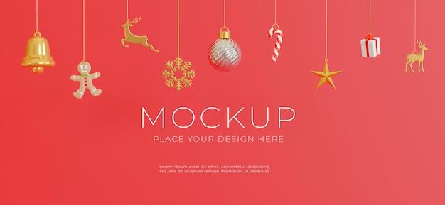 3d визуализация подвесного рождественского украшения с концепцией счастливого рождества для демонстрации вашего продукта