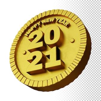 고립 된 황금 굵은 원형 배지와 함께 행복 한 새 해 2021의 3d 렌더링