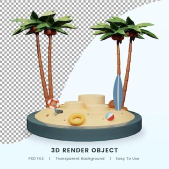 사람들이 캐릭터 디자인 프리미엄 psd와 안녕하세요 여름 배너의 3d 렌더링